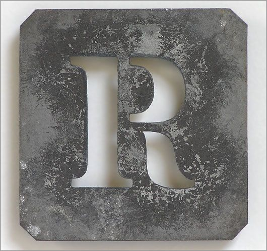 vintage french stencils | The Vintage Wall - Early 1900s French zinc metal letter stencil: 'R'