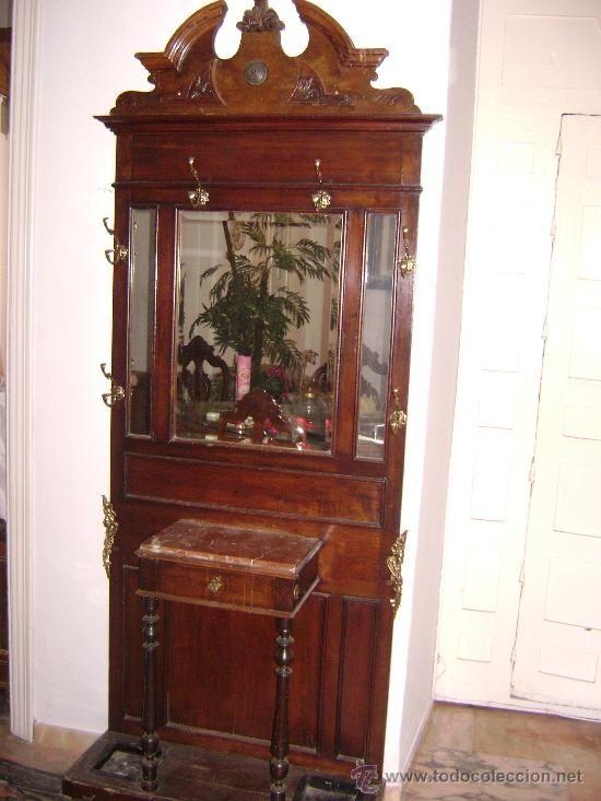 Paragu ro recibidor sombrerero perchero de 1920 antig edades muebles antiguos auxiliares - Perchero recibidor antiguo ...