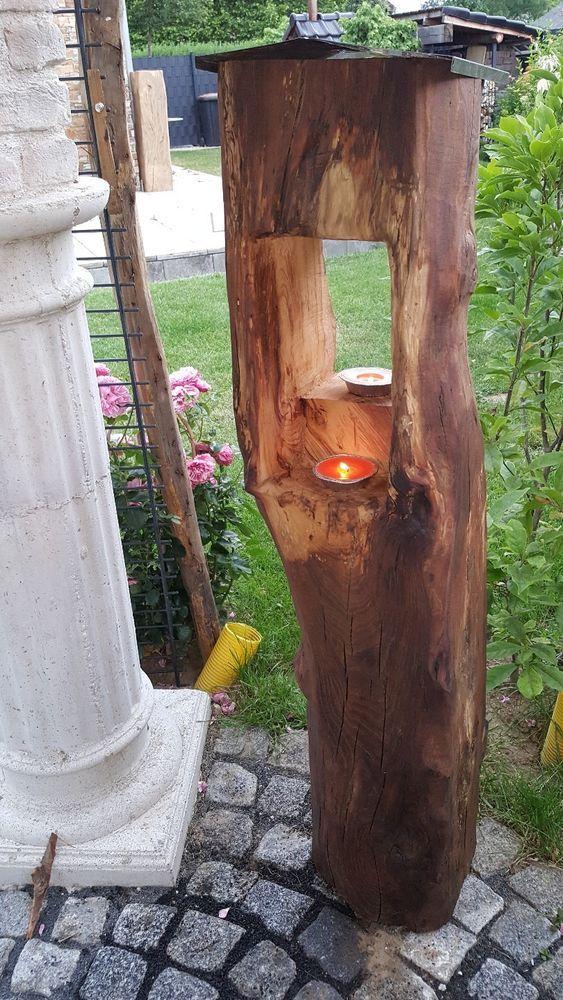 1,38 m Windlicht Laterne aus Holzbalken Alt Eichenbalken Stele Dekosäule in Möbel & Wohnen, Dekoration, Kerzenständer & Teelichthalter   eBay!