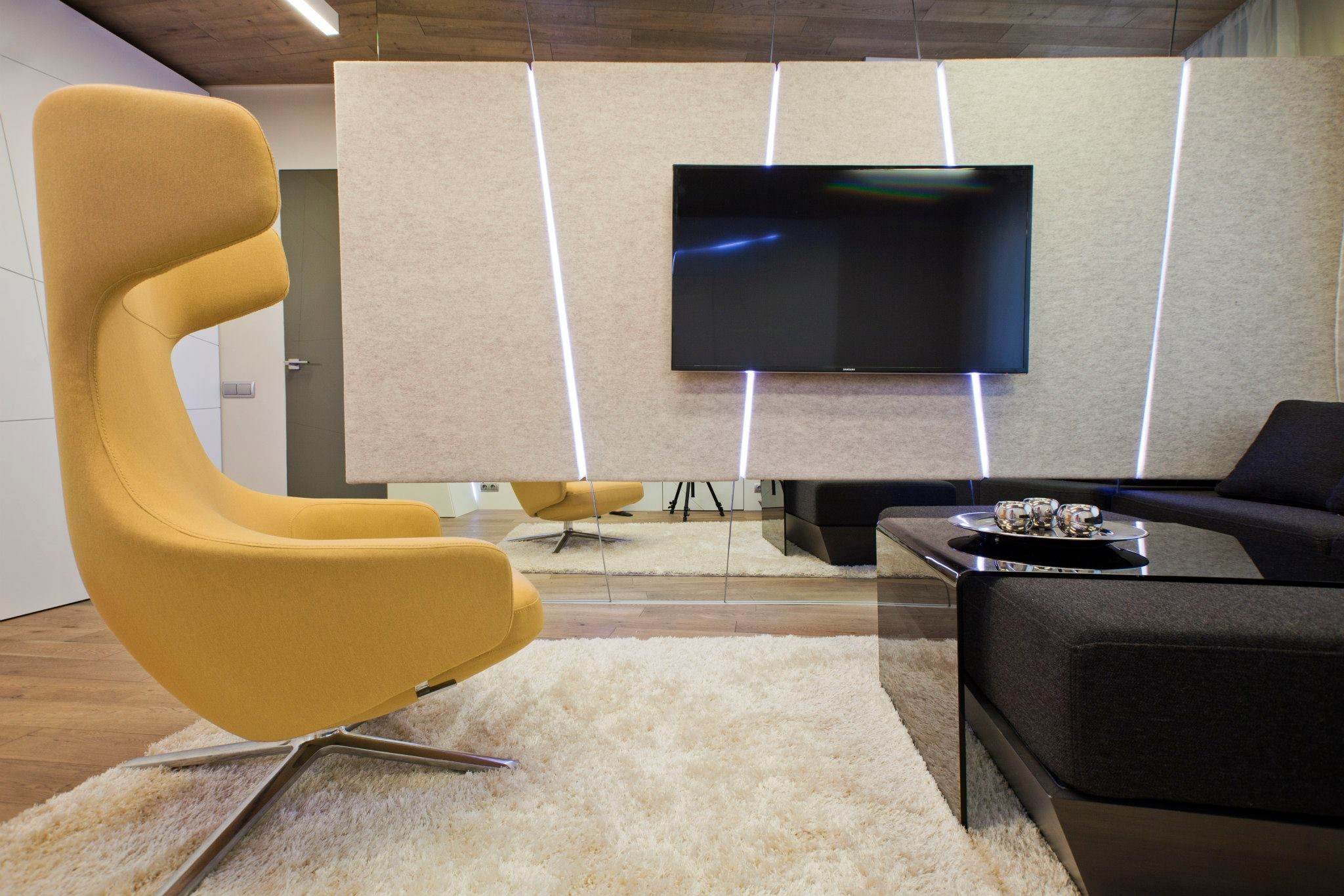 White stripes futuristic living room interior design integrated led - Futuristic Tv Furniture Room Divider With Perfect Apartment Living Room Decorating Ideas With Tv