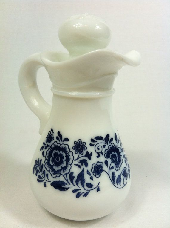 vintage small avon cruet decanter white milk glass pitcher with blue floral print matching on kitchen decor pitchers carafes id=32293