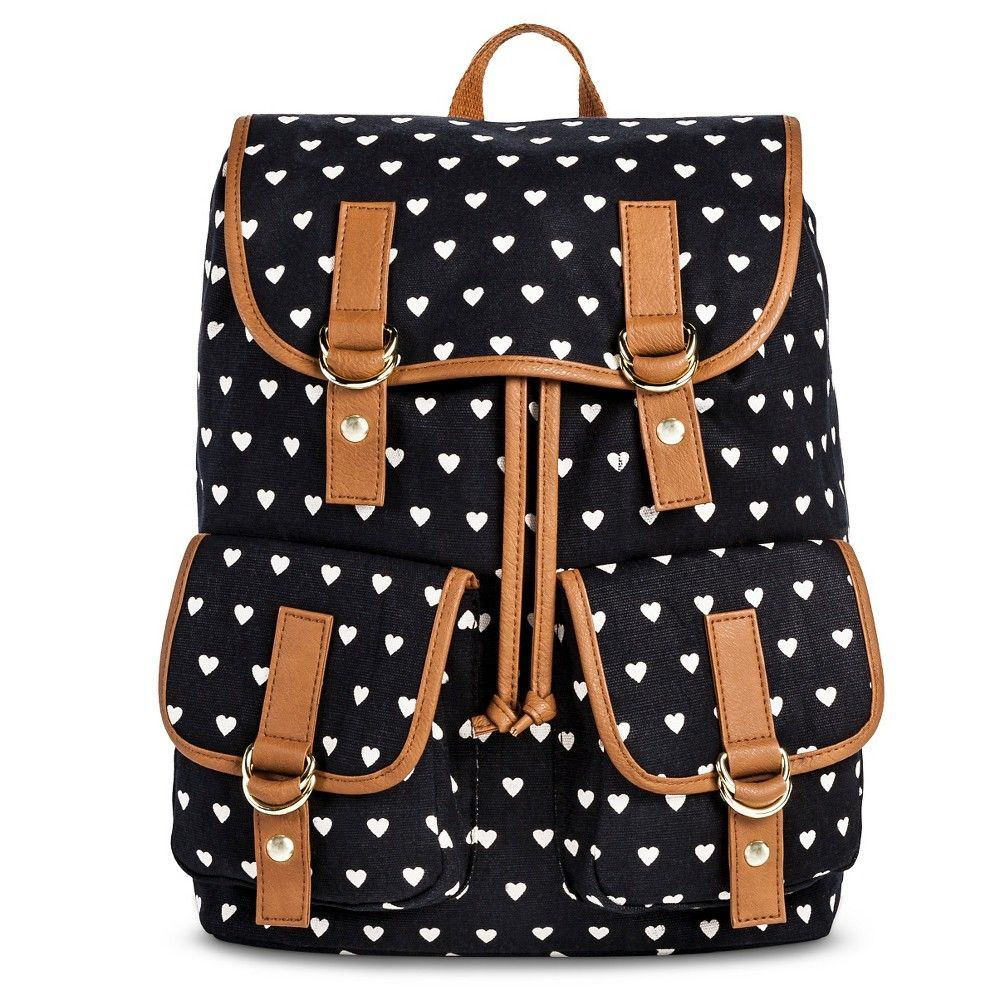 Women's Mini Hearts Print Backpack Handbag Black - Mossimo Supply Co.