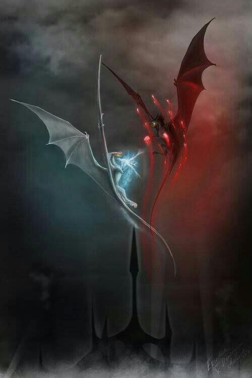 二匹のドラゴンが飛んでる壁紙
