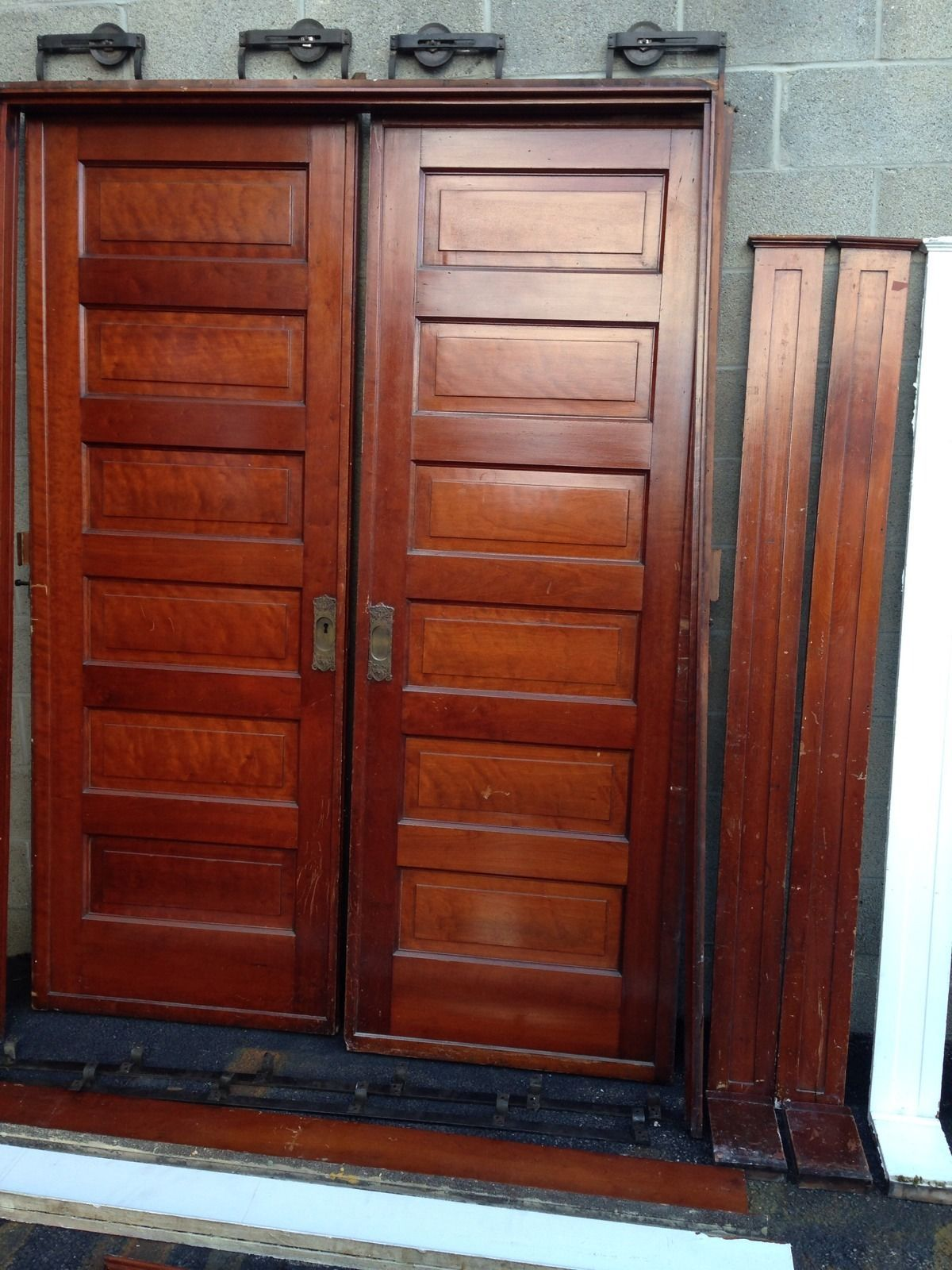 D 34 One Pair Antique Cherry Pocket Doors Turn Of The Century