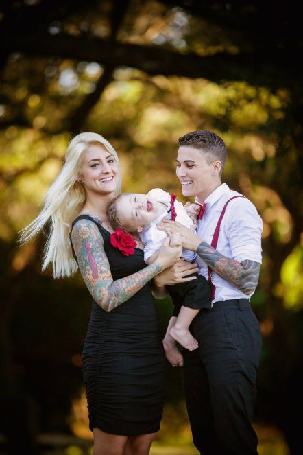 Beautiful Butch With Femme Partner And Dapper Baby Lesbian Moms Lesbian Couples Cute Couples