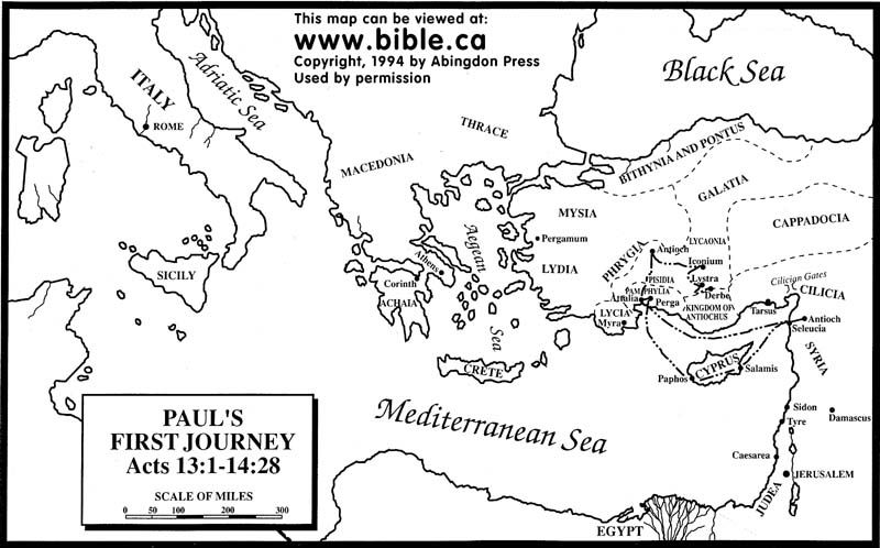 Pauls First Missionary Journey Free Map