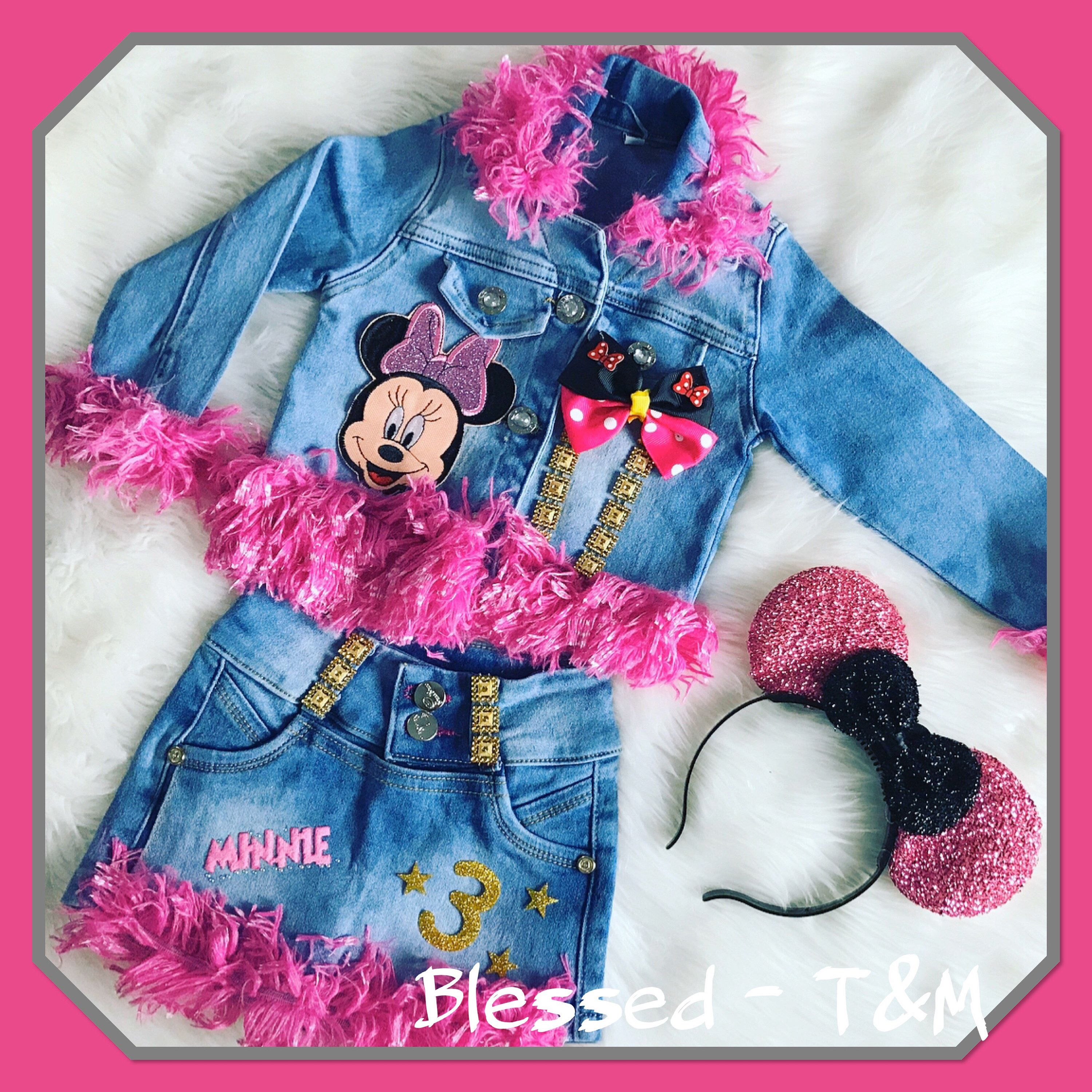 Excited To Share This Item From My Etsy Shop Custom Denim Set Minnie Mouse Inspired Custom Custom Kids Clothes Kid Birthday Outfits Kids Outfits Daughters [ 3000 x 3000 Pixel ]
