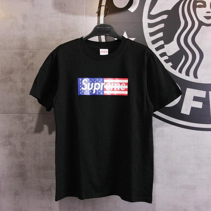 6c330423 Supreme 'USA Flag' Short Black Round Neck T-shirt   supreme box logo ...