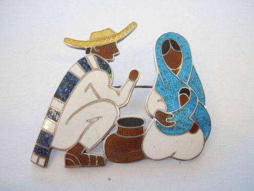 Margot de Taxco Sterling Enamel Pin Brooch Man & Woman w/ Child