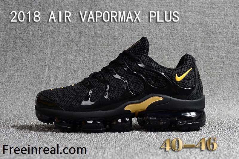 outlet store 6cfa5 5490e Nike Air Max TN Vapormax Plus 2018 Black Golden Men Shoes ...