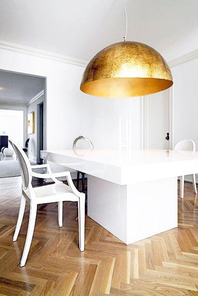 Dining Room. Gold Pendant Light. Modern. Glam. Chic. Decor. Design. White. Wood. Chevron Floors. Home.