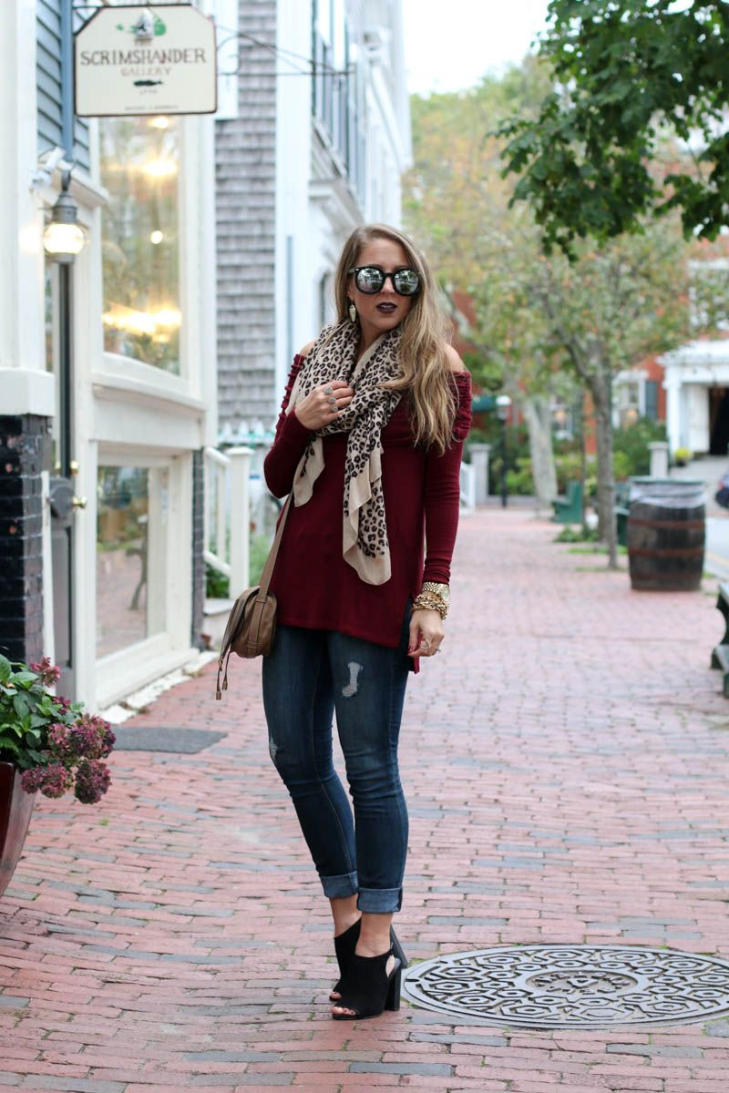 21ef78052c59 burgundy-off-the-shoulder-leopard-scarf-karen-walker-sunglasses-chloe- crossbody-bag-4-of-11