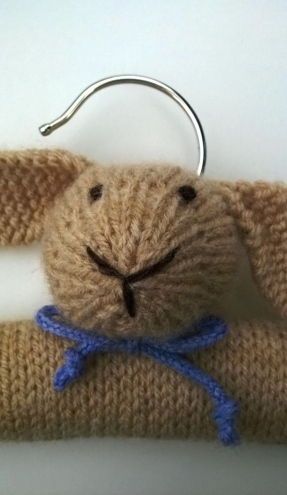 Kniited bunny childrens clothes hanger by thistledown&HOPE, https://folksy.com/items/6622212-Knitted-Bunny-Clothes-Hanger-Christening-gift