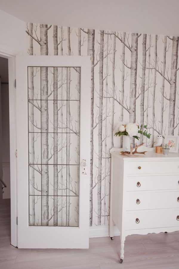 wallpaper trees, Woods by Cole  Son in original black and white - peinture chambre bebe fille