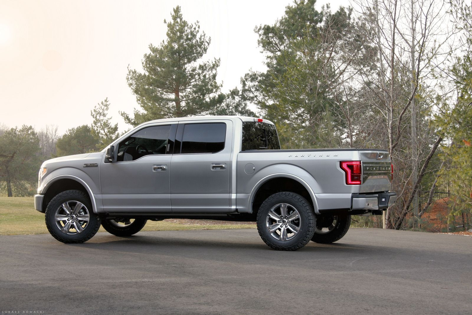 "2015 F150 Platinum with 2"" Leveling Kit 3"" Rear Block and 35"