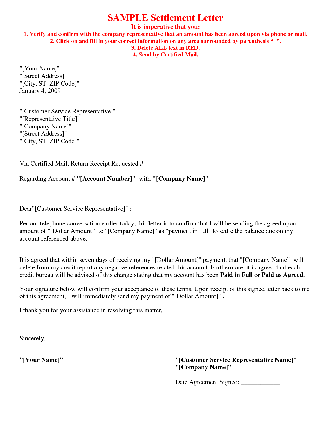 Picture Of Debt Settlement Agreement Letter