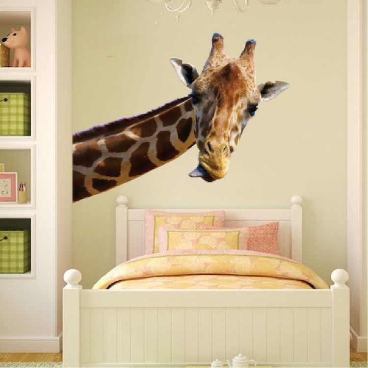 Leaning Giraffe Wall Mural Decal Animal Wall Decal Murals