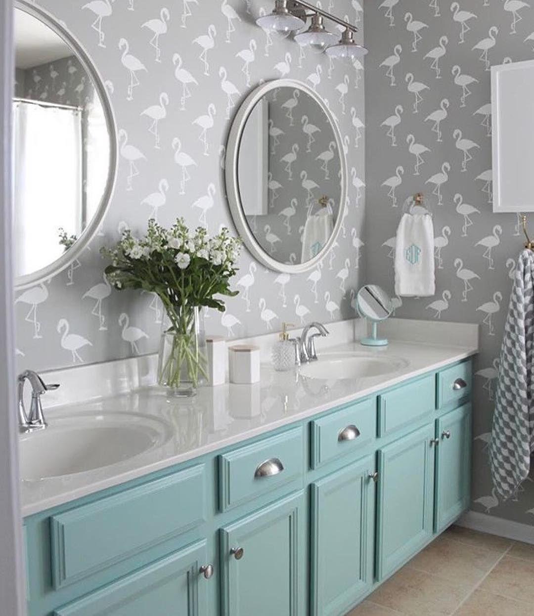 Gender Neutral Kids Bathroom With Stenciled Flamingo Walls And Painted Vanity
