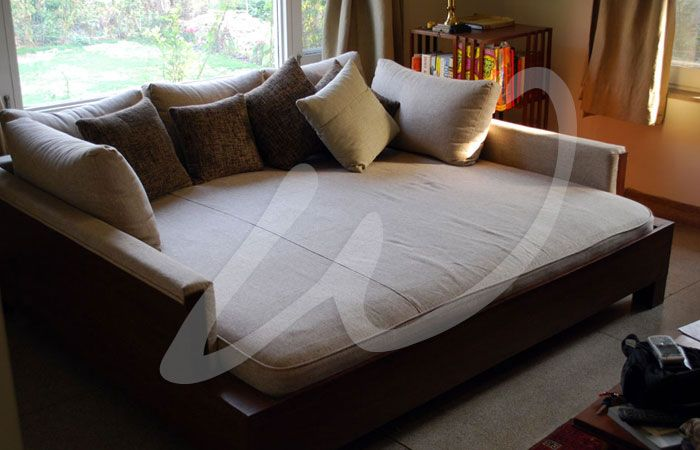 Add a chunky cable knit throw,fur pillows and this would be amazing ...