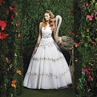 Delicate Fl Banding Makes This Clic A Line Wedding Dress Great Choice For Any Bride Wanting Garden Themed