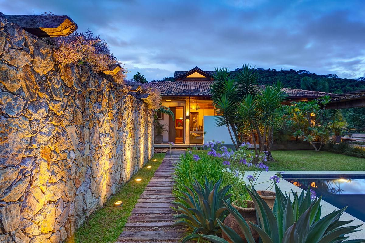 Stone Wall Lighting Flowers Charming Rustic House In Amarante Portugal