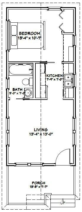 12 24 Tiny House Plans Best Of 14 32 Tiny House 14x32h1a 447 Sq Ft Excellent Floor Plans Of 12 24 Tiny Tiny House Floor Plans 1 Bedroom House Small House Plans