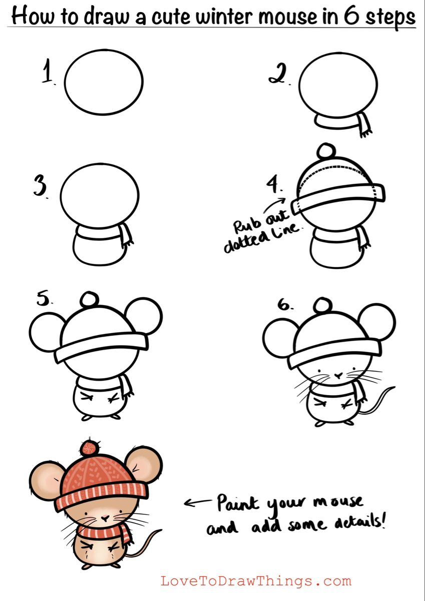 How to draw a cute winter mouse in 6 steps