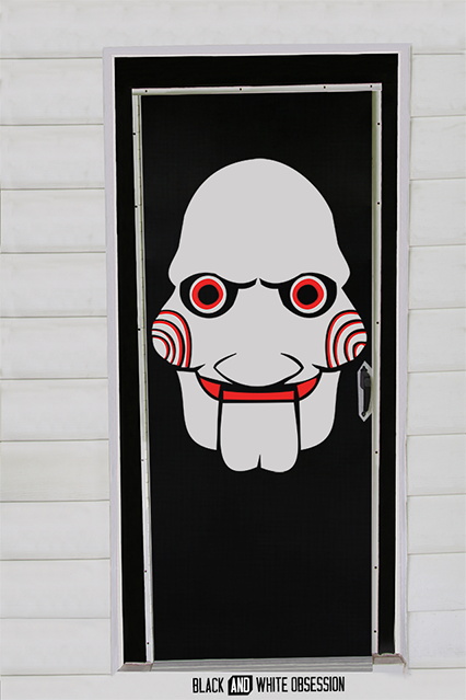 Movie Themed Halloween Door Decorations Saw/Jigsaw | .blackandwhiteobsession.com & Movie Themed Halloween Door Decorations: Saw/Jigsaw | www ...