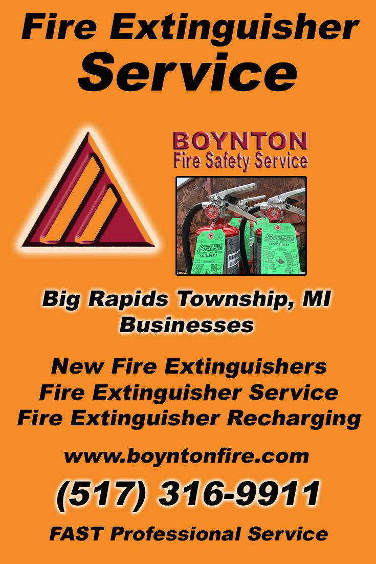 Fire Extinguisher Service Big Rapids Township, MI (517) 316-9911Local Michigan Businesses Discover the Complete Fire Protection Source.  We're Boynton Fire Safety Service.. Call us today!