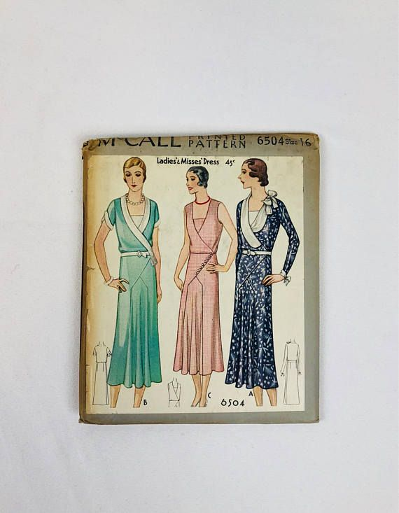 Mccall 6504 Ca 1931 Ladies Misses Dress 1930s Mccall Sewing