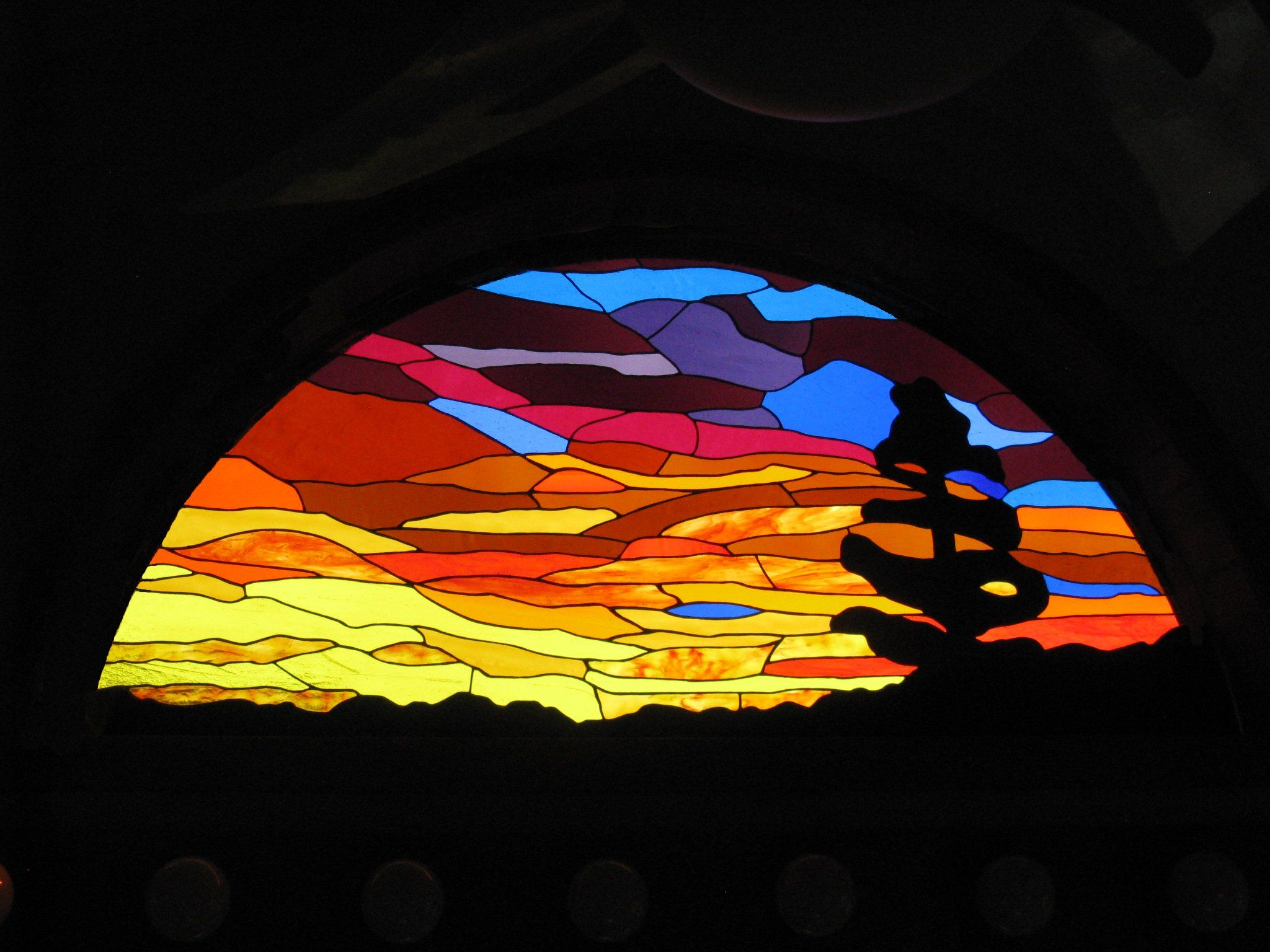 Stained Glass Bathroom Arch Sunset Or Sunrise