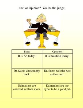 Learning Center Grades 2-3 Fact or Opinion? You be the ...