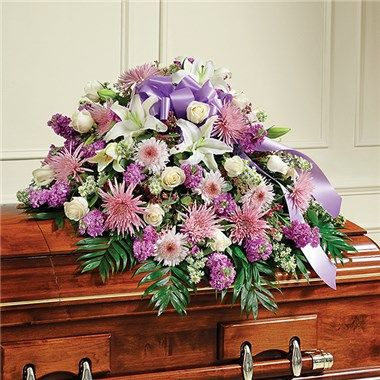 Lavender White Mixed Half Casket Cover The Blue Orchid Flowers In Richmond Michigan Casket Flowers Flower Delivery Funeral Flower Arrangements