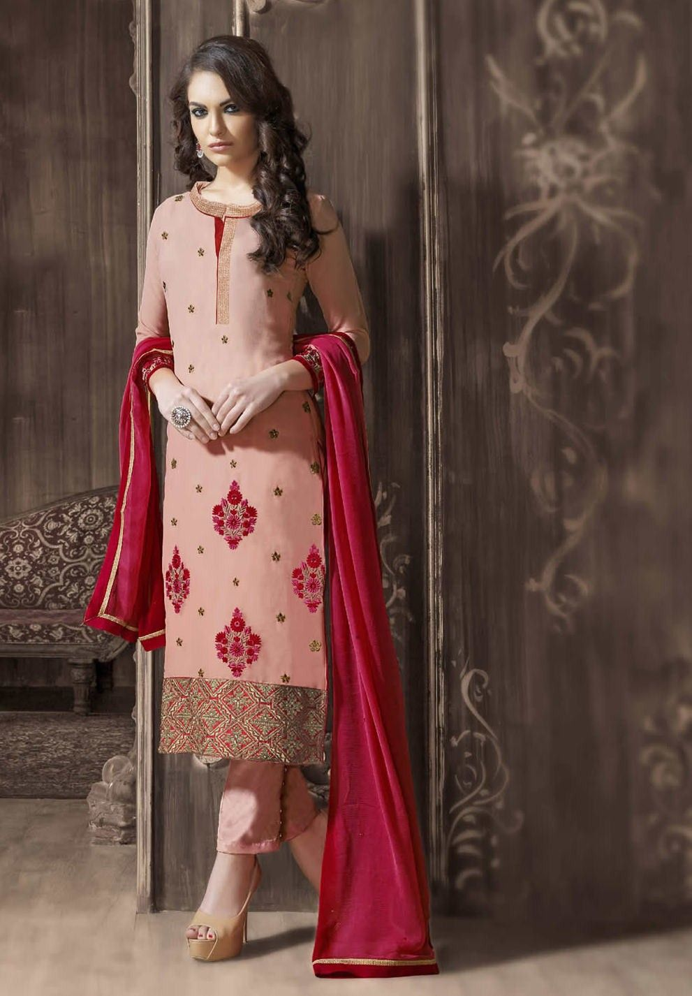 Buy Apparels- Peach Colour Georgette Designer Embroidery Work Salwar ...