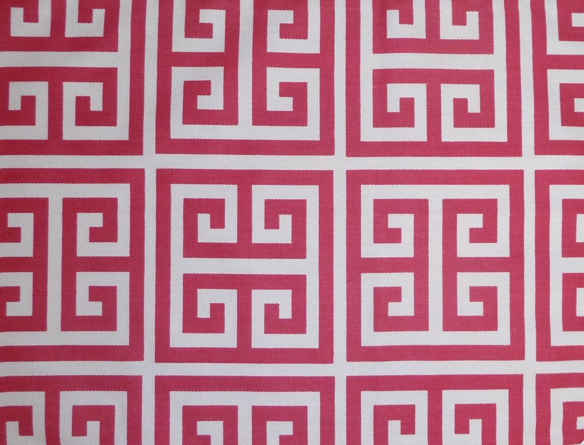 1 Yard Towers Twill Fabric In Pink Sherbert Greek Key Bright White
