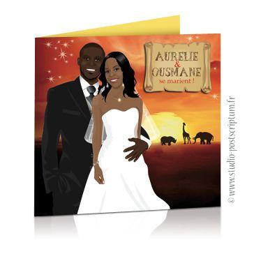 faire part de mariage original voyage afrique safari. Black Bedroom Furniture Sets. Home Design Ideas