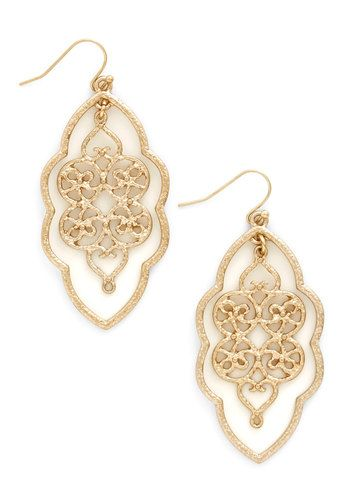 Filigree of Flair Earrings. When you need to kick up your outfit a notch, you reach for these ornate gold earrings! #gold #prom #modcloth