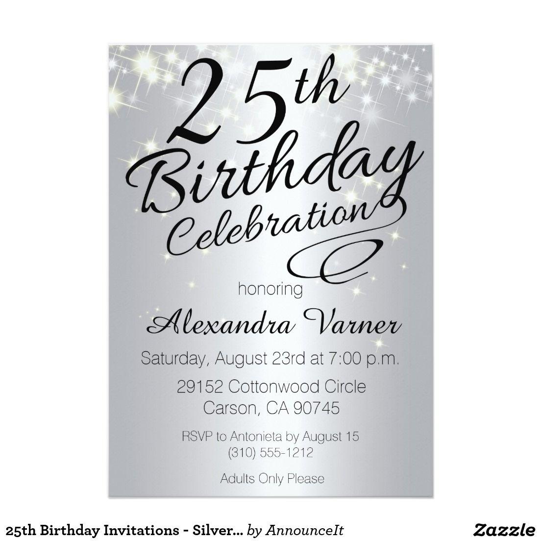 25th birthday invitations silver