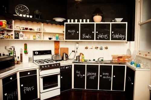 I wouldn't do black, but I kind of like the idea of chalkboard paint on the cabinets, especially if you're starting off with shitty cabinets that you don't want to replace