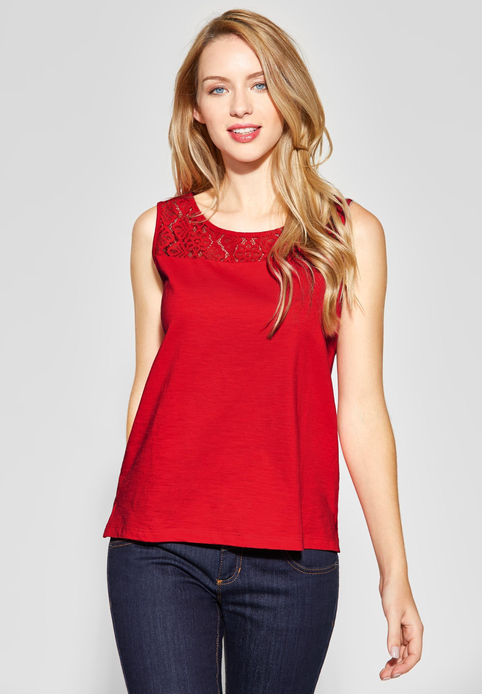 Neuankömmling online überlegene Materialien Street One - Ärmelloses Shirt mit Spitze in Vivid Red in ...