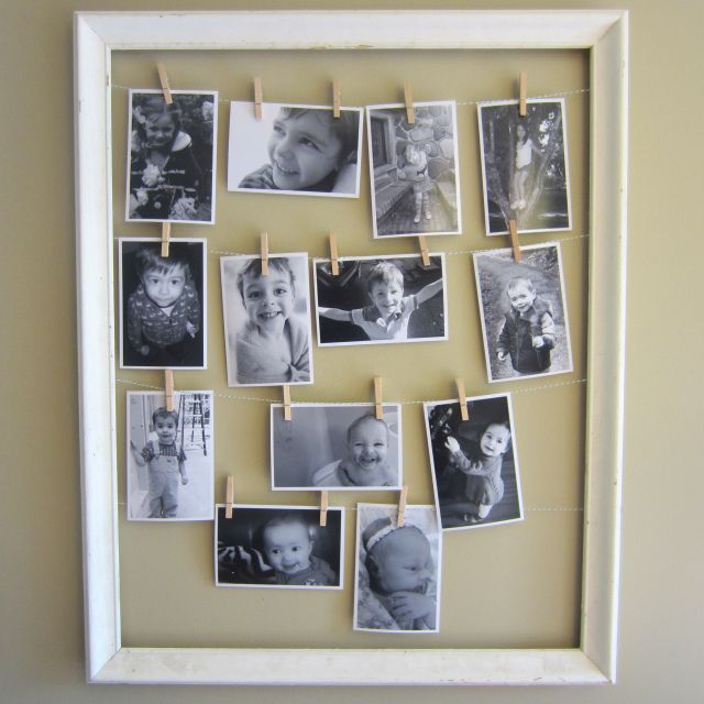 Clothes Line Picture Frame For Mother S Day Display Family Photos Clothesline Picture Frame Diy Picture Frames