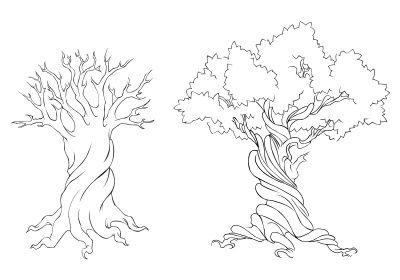 Large Tree Stencil Tattoo Bare Trunk Outline Leaves Just Free