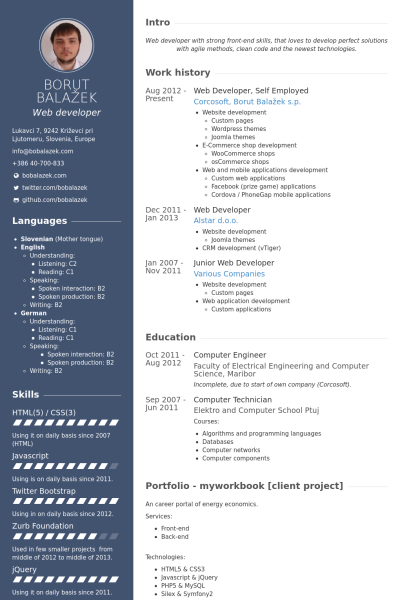 Web Developer Self Employed Resume Example Web Developer Resume Resume Template Web Developer Cv