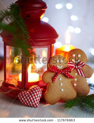 Stock Photo Christmas Decorations With Gingerbread Man