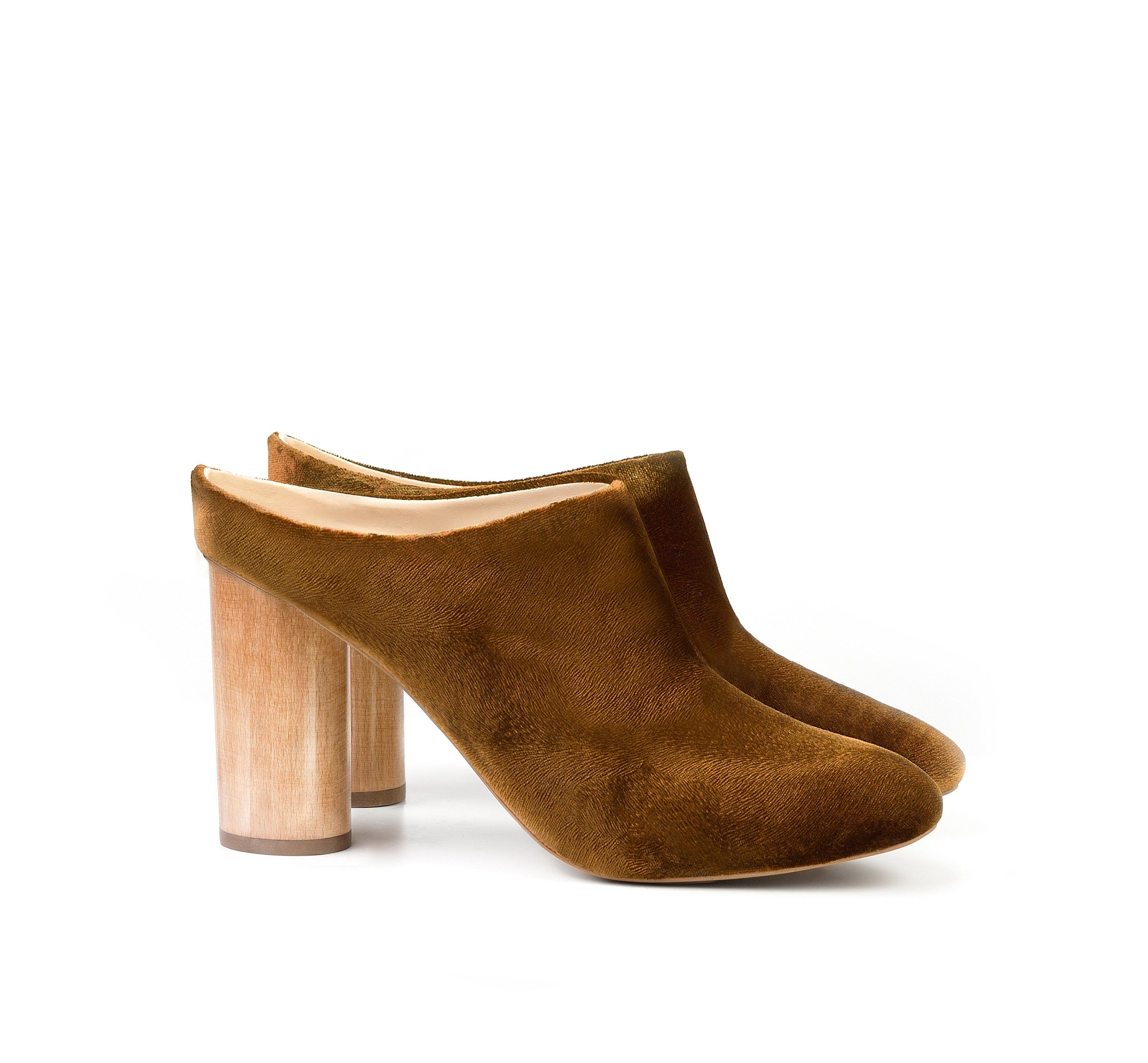 baa2c69249d5 High Mule in Amber Velvet. Sustainable Wood Heel. Luxury shoes. Ethical and  sustainable footwear by Sydney Brown.