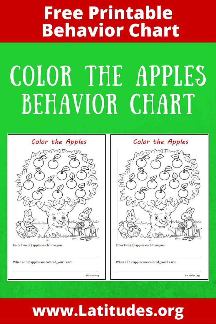 FREE Behavior Chart (Color the Apples | Behaviour chart, Chart and ...