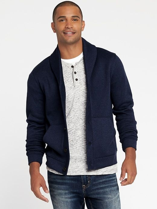 025cf519a98 Shawl-Collar Sweater-Knit Fleece Cardigan for Men