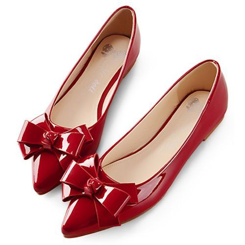 dc3951ff280 Red Patent Leather Pointy Flat Bridesmaid Prom Dress Flats Shoes  SKU-1090098