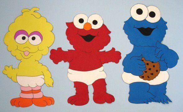 Baby elmo big bird cookie monster sesame street custom for Elmo wall mural