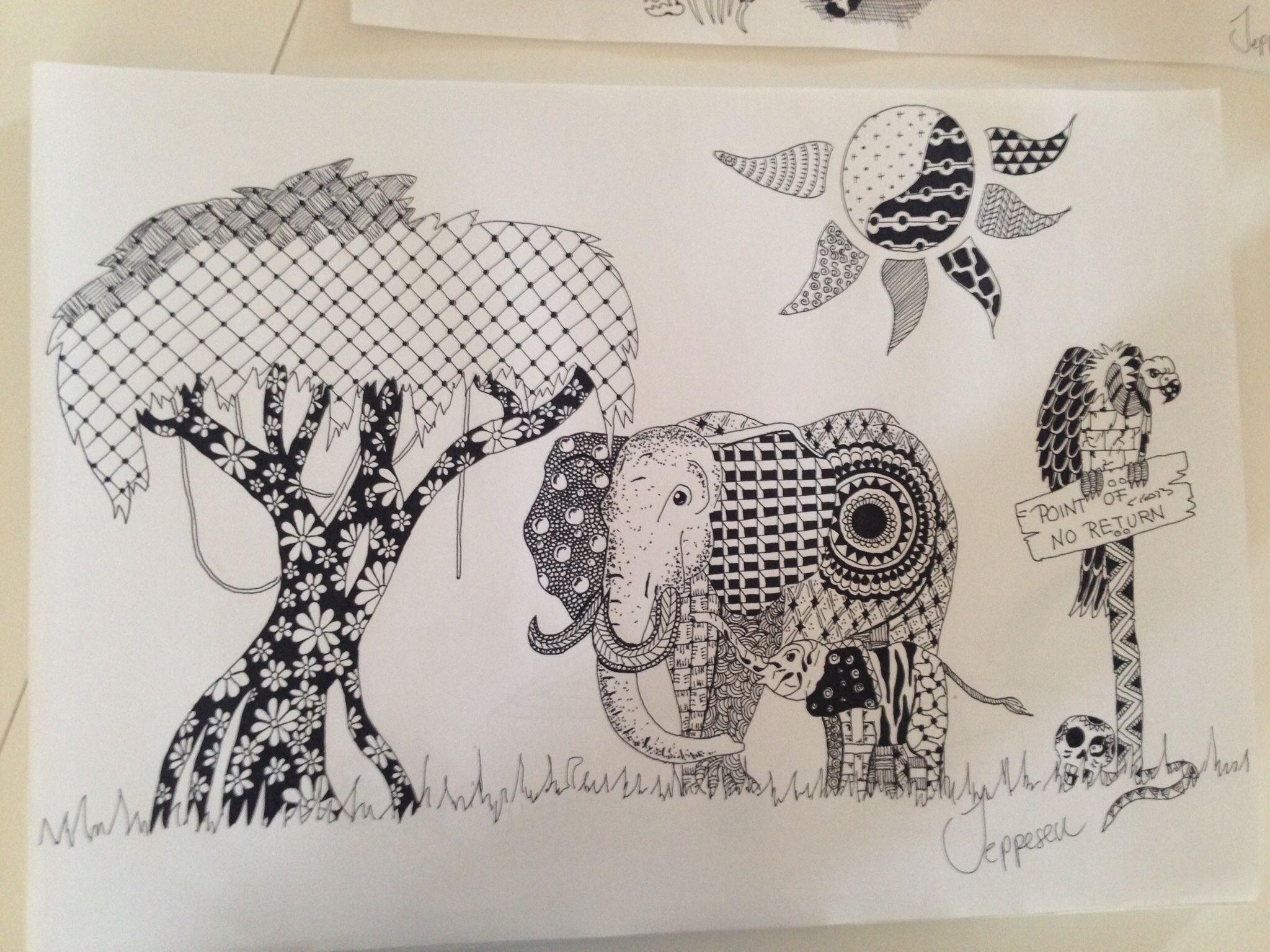 Zentangle, elephant